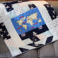 Sailor Crib quilt, boy baby gift, Patchwork for children, baby quilt, blue quilt, nursery decor, gift for baby, baptism gift
