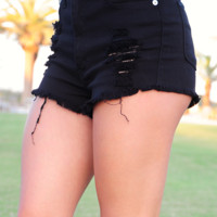 Gotta Travel On Shorts: Black Denim