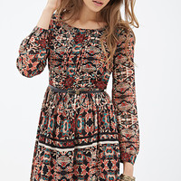 LOVE 21 Leaf Print Chiffon Dress Black/Tan