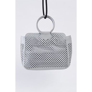 Grey Cloth Double Layered Faux Leather Mesh Hidden Magnetic Snap Button Closure Crossbody Handbag