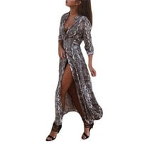 Hot sell womens Snake skin print Long dress fall spring clothes Sexy Fashion long sleeve Buttons Turn-down collar Vestidos Femme