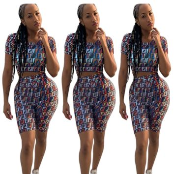 FENDI Hot Sale Woman Casual Colorful F Print Short Sleeve Top Shorts Set Two Piece