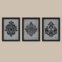 French Country Damask Black Charcoal Gray Chevron Pattern Artwork Set of 3 Trio Prints WALL Decor Abstract ART Bedroom Bathroom