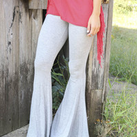 Museum Steps Gray Ribbed Fit & Flare Sweater Pants