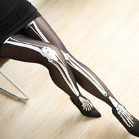 NEW 2016 Women Tights Sexy Stockings Nightclubs Bar Stockings Halloween Skull Bones Black Pantyhose