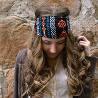 Teal Navajo Boho Head Wrap, Aztec hippie Head Band #b2s #backtoschool