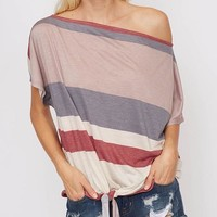 Loose Neck Stripe Top - Grey/Mauve/Charcoal