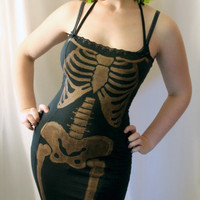 custom bleached skeleton wiggle dress  DANSE by smarmyclothes