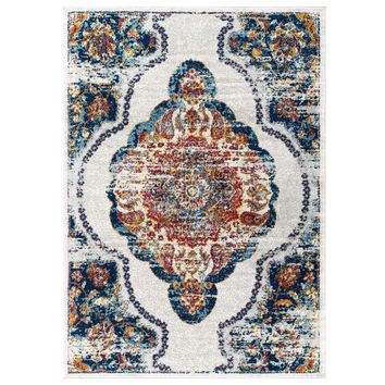 Entourage Malia Distressed Vintage Floral Persian Medallion 5x8 Area Rug
