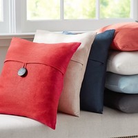 pottery barn red linen button pillow - Google Search