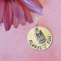 Owl Necklace Always love you -- Relationship Necklace