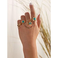 4pcs Star & Heart Charm Ring