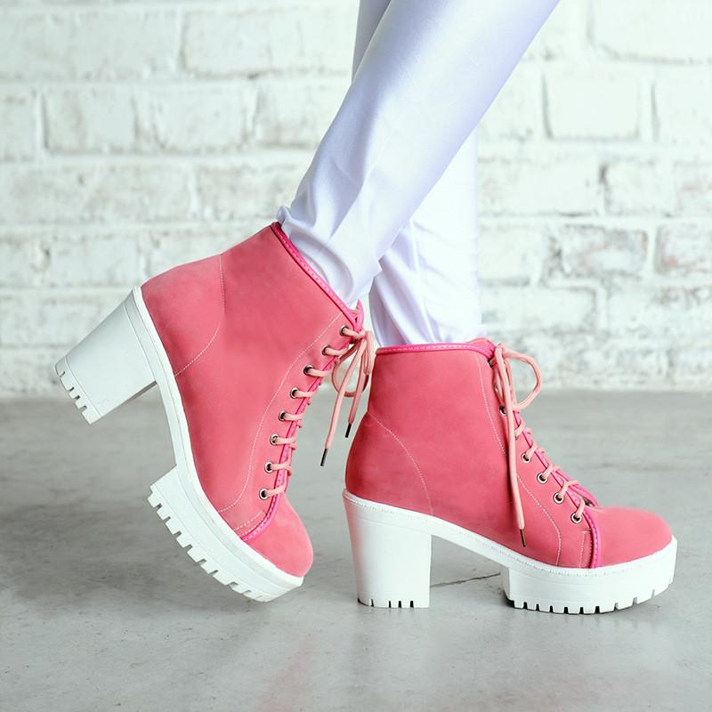 Image of Women Ankle Boots Platform Lace Up High Heels Shoes Woman 2016 3491