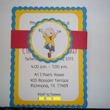 Caillou Birthday Invitations, inspired by Caillou
