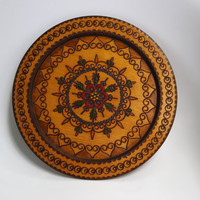 Vintage Handcarved Brown Wooden Plate Woodburning Pyrography Polish Decorative Round Ornament Plate - Made in Poland 60s wooden wall hanging