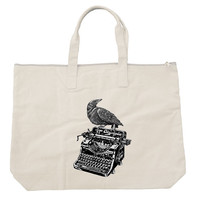 Raven on a Writing Desk Zippered Tote Bag
