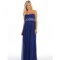 Royal Blue Strapless Embellished Chiffon Gown 2015 Prom Dresses