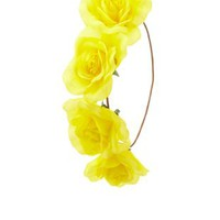 Yellow Wired Rose Flower Crown by Charlotte Russe
