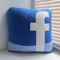 Facebook Pillow - Decorative Pillow - Handmade Pillow - 12x12 Blue Geekery Pillow