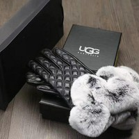 Factory Price Christmas Gifts UGG Gloves Australia Lambskin + Rabbits Fur Touch Screen Gloves [2974244230]