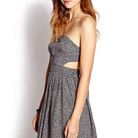FOREVER 21 Retro Printed Strapless Dress Dark Navy/Peach Large