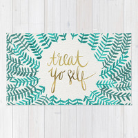 Treat Yo Self – Gold & Turquoise Rug by Cat Coquillette