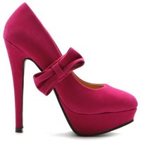 Ollio Women's Shoe Mary Jane Platform Faux Suede Ribbon Band High Heel Multi Color Pump (6.5, Pink)
