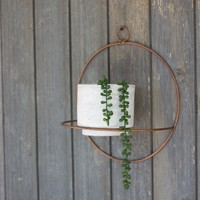 White Wash Clay Pot With Copper Finish Round Wall Sconce