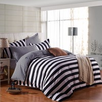 Cool Black And White Stripe Pattern 4Pcs Duvet Cover Flat Bed Sheets+Pillowcase King Queen Full Twin Bedding Set Bedding Set SoftAT_93_12