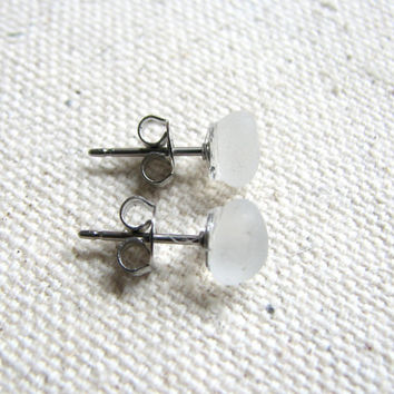 Tiny White Sea Glass Stud Earrings - Natural Beach Glass Earrings, Small Genuine SeaGlass Jewelry, Genuine Sea Glass Jewelry