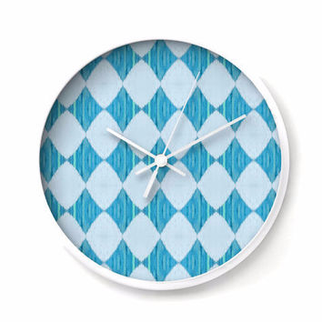 Wall Clock with Ikat Style Harlequin Pattern in ice blue and turquoise