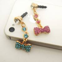 HOT 1PC Bling Crystal Bow Chain Charm Cell Phone Earphone Jack Antidust Plug Charm for iPhone 5c,5s,Samsung S3,S4 Gift for Her Friend Gift