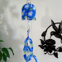 Large Vodka bottle wind chime, Yard art, Patio decor, Recycled vodka bottle, Blue flowers,  Clear glass, Wind chime, Gift Idea