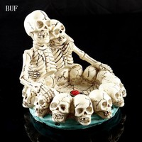 Skull Skulls Halloween Fall BUF Resin Craft Statues For Decoration  Ashtray Creative  Figurines Sculpture Home Decoration Accessories Ashtray Calavera