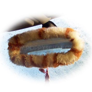 Giraffe print faux fur rear view interior mirror cover