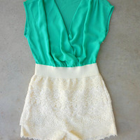 Green & Lace Romper [7161] - $47.00 : Feminine, Bohemian, & Vintage Inspired Clothing at Affordable Prices, deloom