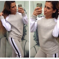 (2 Pcs) 2016 Autumn Winter Casual Everyday Wear Sportswear Gym Blouse Sweatshirt Shirt and Pants Set _ 9035