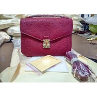 LV Louis Vuitton Ladies Fashion Candy Color Shopping Leather Shoulder Bag Handbag Crossbody Wine Red I