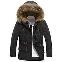 Winter Long Hooded Down Coat Men Water resistant Jacket