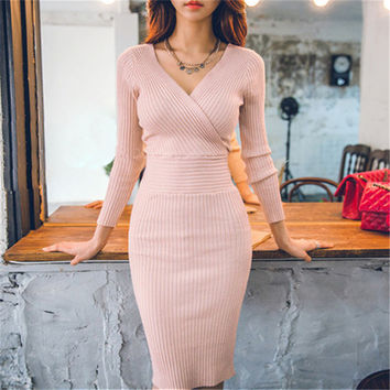 New Casual Fashion Vintage Sexy Bodycon Bandage Slim Deep V Neck Long Sleeve Women Knee Length Knitted Dress