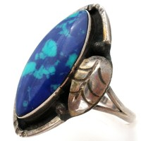 Blue Azurite Ring Sterling Silver Size 8