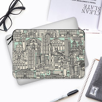 Hong Kong toile de jouy mint Macbook Pro 13 sleeve by Sharon Turner | Casetify