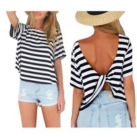FUNOC Summer Womens Sexy Cross Backless Tops Casual Loose Short Sleeve TShirt Bl...