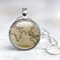 Map Necklace, Ancient world map, globe necklace, world map pendant, old map pendant, jewellery, world jewelry, vintage brown map necklace