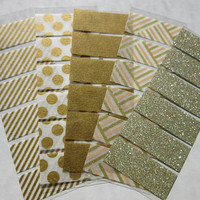 Gold Washi Stickers for Erin Condren Life Planner, Plum Paper Planner, gold stripes, gold spots, solid gold, gold glitter, gold pattern