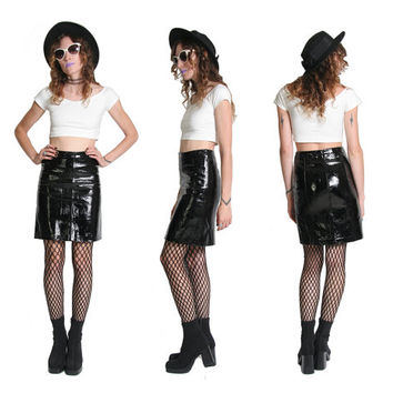 PVC High Waisted Skirt - Cyber Goth - Napa Leather Skirt - Designer Fashion - Nu Goth - Nu Grunge - Black Pleather Leather Mini Skirt Small