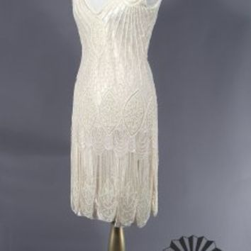 The Vamp Cream Bone Gossip Girl Dress : Beaded 1920's Style Gowns, Art Deco Gowns, 20's Flapper Fringe Dresses, Vintage Daywear, Hollywood Reproductions..... from LeLuxe Clothing