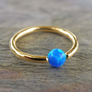 Gold Hoop with Blue Opal Cartilage Hoop Tragus Helix Rook