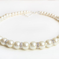Pearl necklace bridesmaid jewelry wedding gift wedding party big pearl ivory pearl bridesmaid necklace mother gift wedding necklace