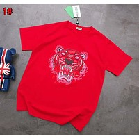 KENZO Trending Women Men Stylish Print Round Collar T-Shirt Top Blouse 1# Red